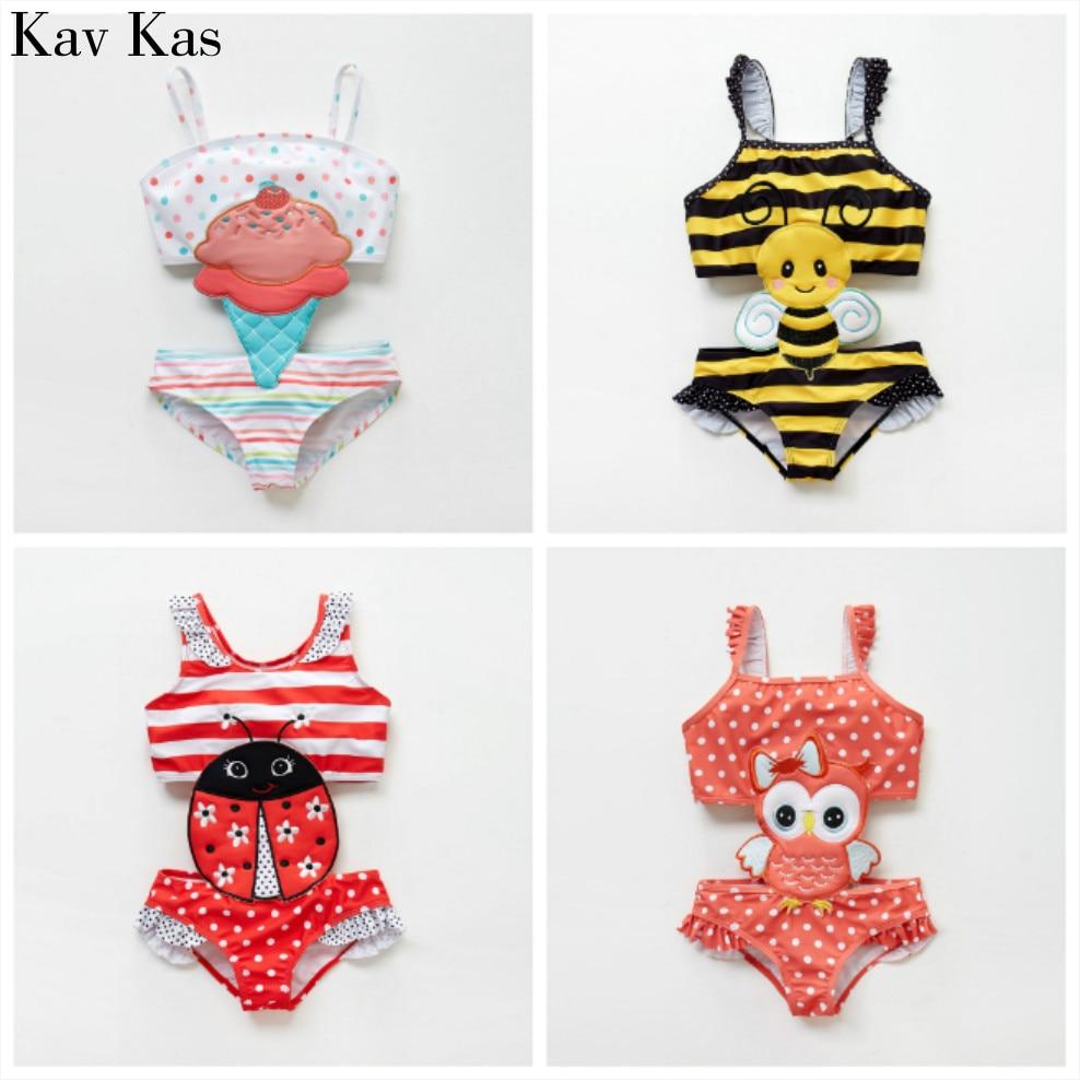 KAVKAS Summer New Baby Girl Conjoined Cartoon Bee Swan Swimsuit One-piece Cute Bikini