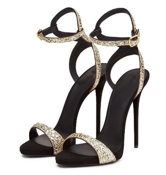 Summer New Fashion Sequins Buckle Strap Sandals Stiletto Heels 12 cm Sexy Party High Heel Dress Sandals Shoes Plus Size Cheap