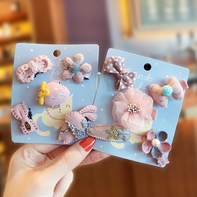 5 Pcs/Set New Children Baby Cute Candy Flower Bow Star Fruit Ornament Hair Clips Girls Lovely Hairpins Kids Hair Accessories