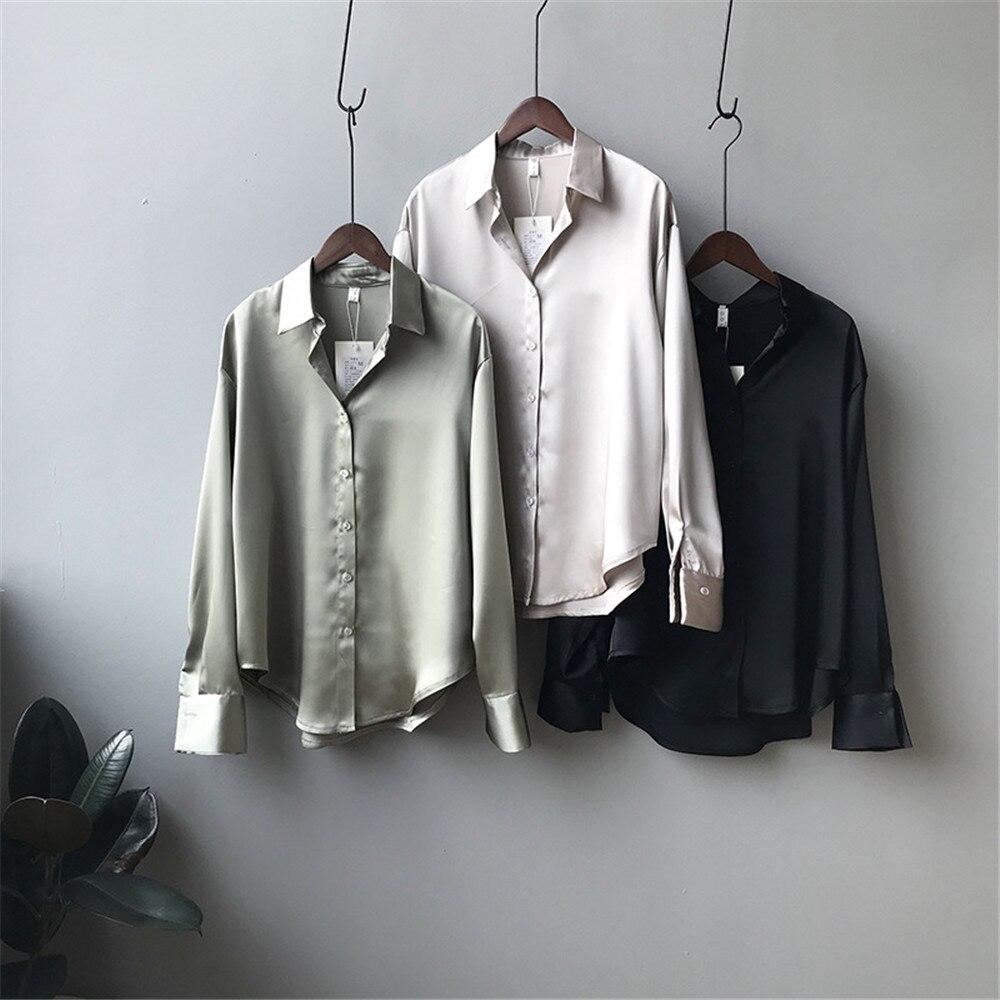 High quality Women Silk Satin Blouse 2020 Summer Women Satin Blouses Shirt Office Long Sleeves Femme V Neck Loose Street Shirts (24)