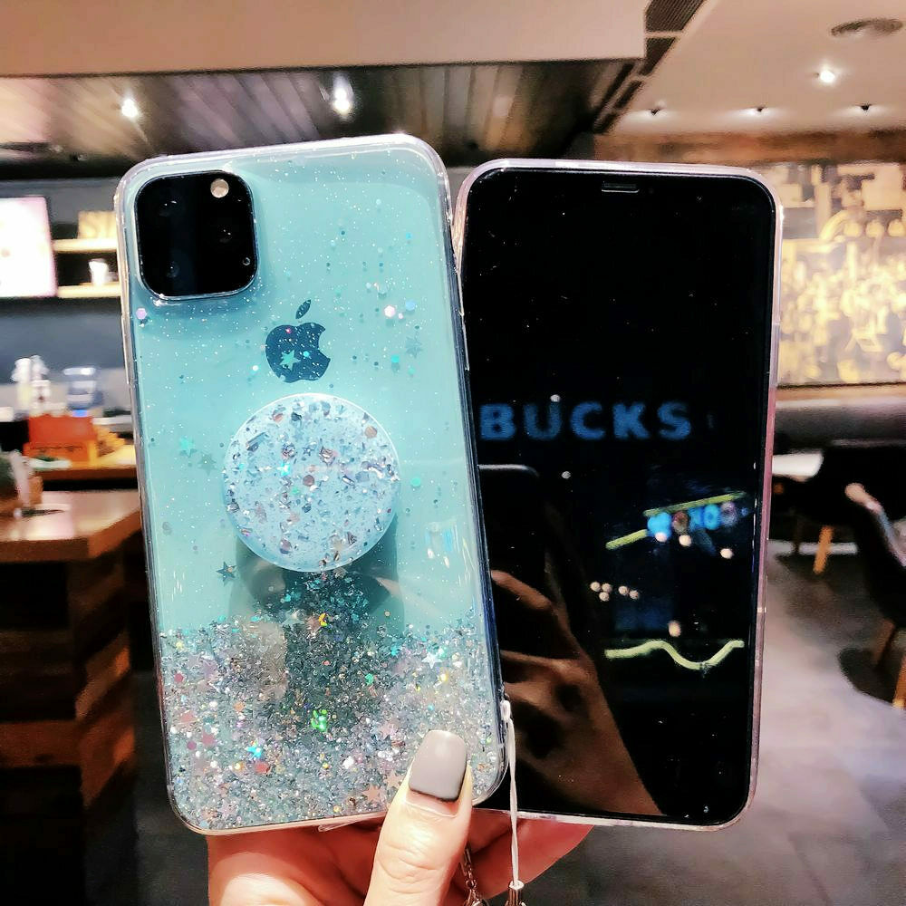 Bling Glitter Case For iPhone 11 Pro Max 11 Pro 11 XS XR X XS Max 6s 6 7 8  PlusSlim Case With Stand Holder Phone Cases Socket 2