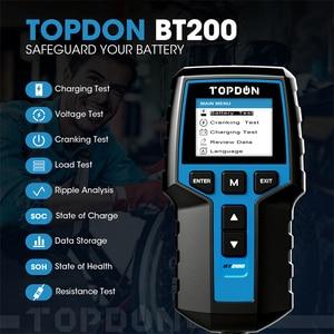 Image 2 - TOPDON BT200 12V Auto Batterie Tester Digitale Automotive Diagnostic Batterie Tester Analyzer Fahrzeug Ankurbeln Lade Scanner Tool
