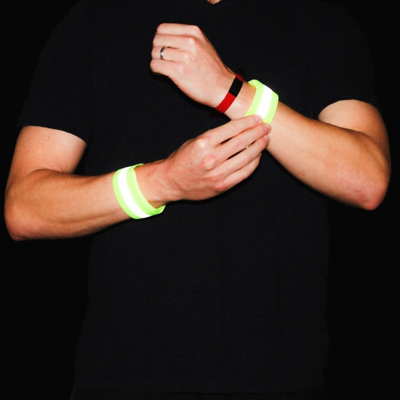 2 Reflective Bands With High Visibility Elastic Arm Warmers Wristband Running Wrist Intimates