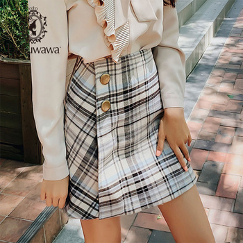 Dabuwawa Spring Autumn Vintage Plaid Skirt for Girls Office Lady Women New Grey High Waist Button A-Line Skirts Female D18DSK014