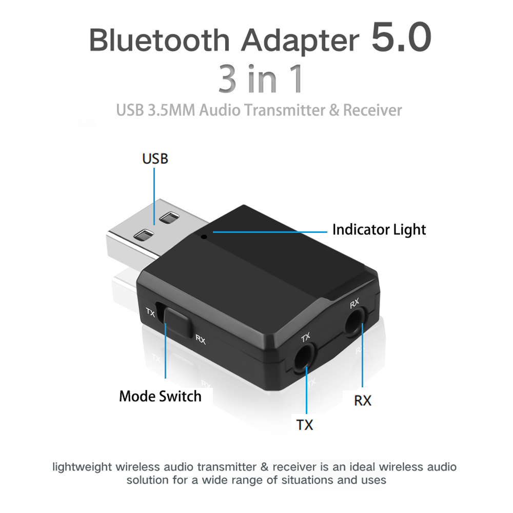 Image 4 - KEBIDU 3 IN 1 Bluetooth Transmitter Receiver Wireless Bluetooth 5.0 Adapter Mini 3.5mm AUX Stereo For Car Music For TV Newest-in Wireless Adapter from Consumer Electronics