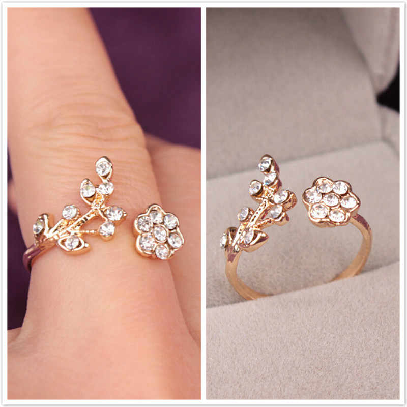 2019 NEW Temperament Rhinestones Twisted Leaves Wishful Flowers Open Ring Index Finger Ring Unisex Rings