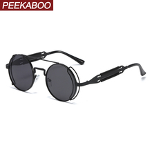 Peekaboo women retro steampunk sunglasses male vintage 2020 black red men sun gl