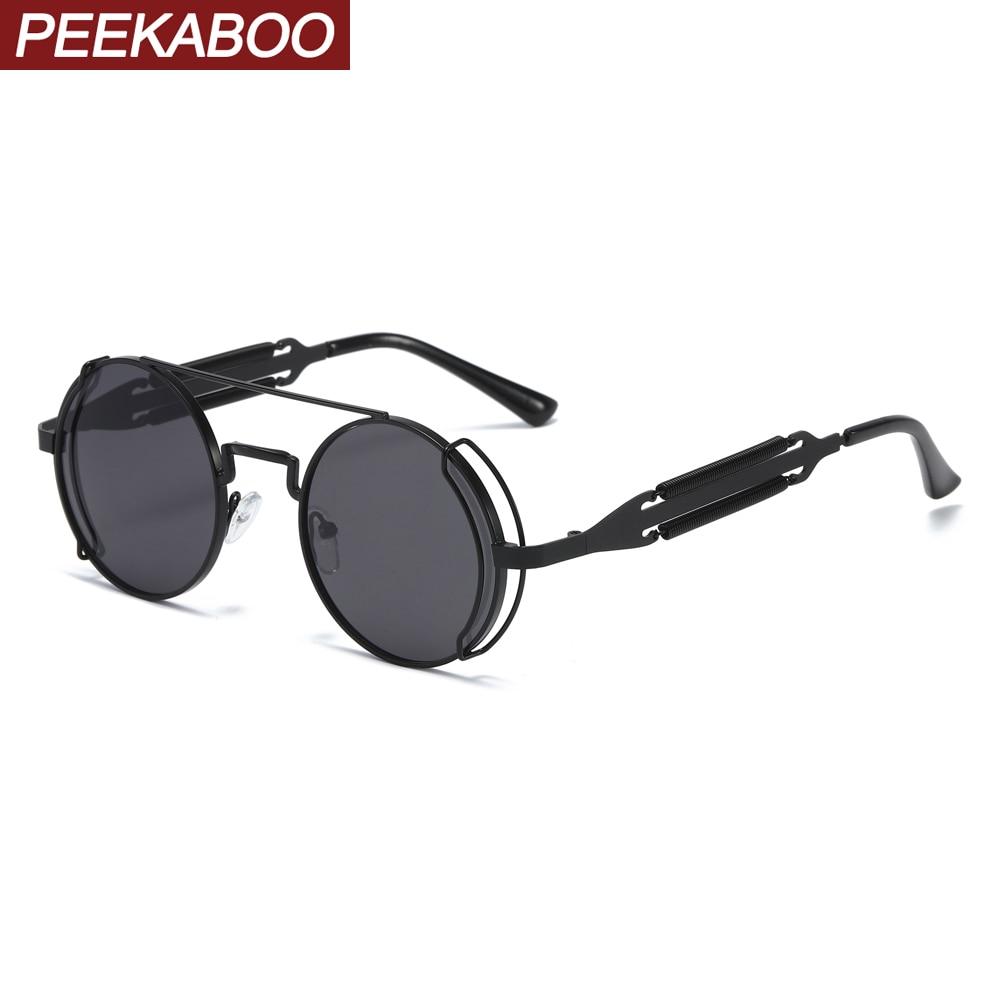 Peekaboo Women Retro Steampunk Sunglasses Male Vintage 2020 Black Red Men Sun Glasses Round Metal Frame Uv400 Summer Party