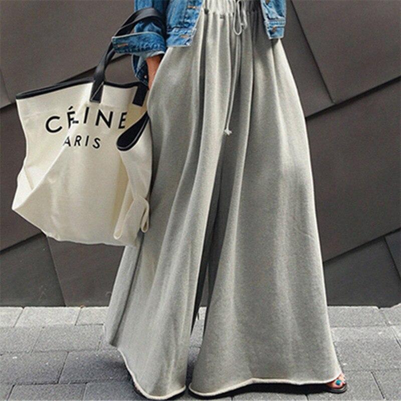 2020 Spring Wide Leg Loose Pants Elastic Waist Long Capri Pants Casual Students Fashion Hoodie Pants Fashion