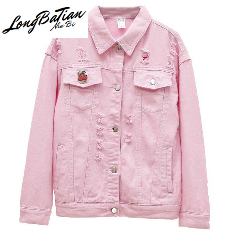 Korean Fashion Cherry Deduction Hole Denim Women 2020 Spring Plus size Pink Ladies Jeans Jacket Student Basic Outerwear image
