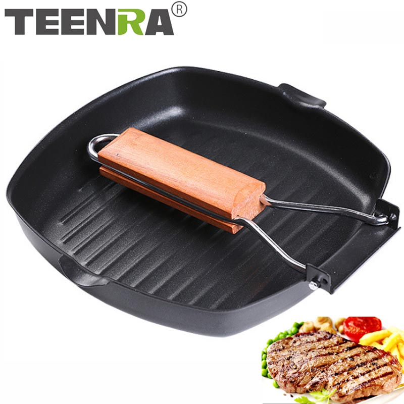 TEENRA Non-stick Frying Pan For Eggs Ham Wooden Handle Folding Square Grill Pan Portable Steak Frying Pan