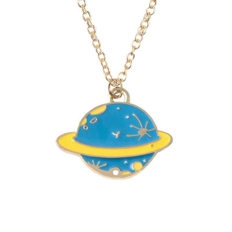 Moda dos desenhos animados astronauta planeta pingente colares nave espacial harajuku planeta esmalte colar mental corrente espaço colar presente