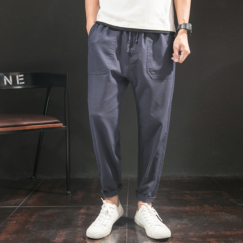 Japanese-style Cotton Linen MAN'S Ninth Pants Casual Pants Summer Thin Section Loose Harem Pants Sub-Men's