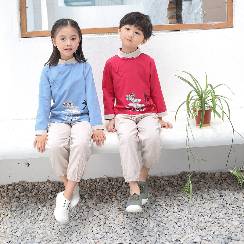 Children Chinese Clothing Set BOY'S Chinese-style Baby Retro Chinese Costume Students Crane Embroidery Costume School Clothing A