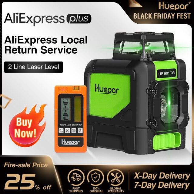 Huepar Laser Level Green Beam Cross Laser Self leveling 360 Degree with 2 Pluse Modes+Huepar Digital LCD Laser Receiver Detector