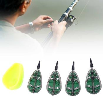 Fish Lure Quick Release Mould Fishing Carp Terminal Tackle Combo Inline Method Feeder Set Fishing Bait Thrower Lead Sinker