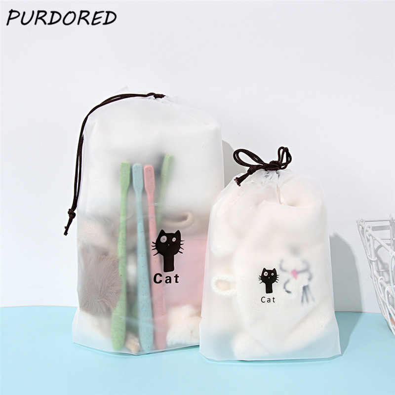 PURDORED 1 Pc Cute Cat Transparent Cosmetic Bag Travel Makeup Bag Women Drawstring Make Up Organizer Storage Pouch Dropshipping