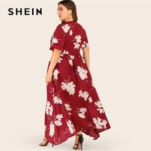 Image 3 - SHEIN Plus Größe Große Floral Druck Geschichtet Hülse Maxi Kleid Frauen Sommer Herbst V ausschnitt Hohe Taille Fit und Flare casual Kleider