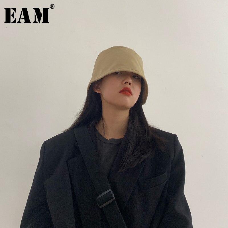 [EAM] Women Multicolor Brief Vintage Fishermen Hat New Round Dome Temperament Fashion Tide All-match Spring Autumn 2020 1R358