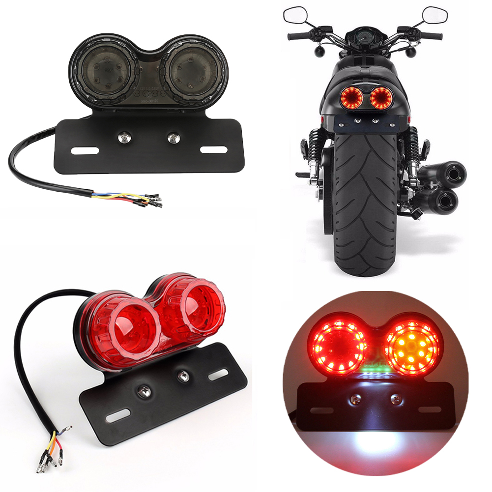 Motorcycle LED Light Twin Dual Turn Signal Brake License Plate Integrated Light One-piece Taillight Modified Lamp Night