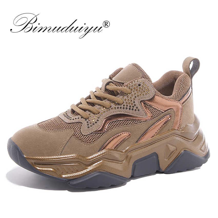 Bimuduiyu Mới Dành Cho Nữ Chun Nền Tảng Thường Ngày Vulcanize Giày Thiết Kế Cũ Bố Giày Sneaker Thời Trang Nữ Đi Giày Lười Nữ