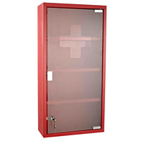 HOMCOM Cassette Holder Medicine Cabinet Medicine 4 Layers Glass Door 60 × 30 × 12cm Red