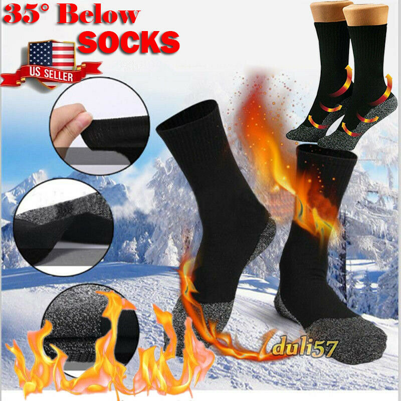 35° Aluminized Unisex Winter Heat Fiber Long Socks Men Women Warm Heating Cycling Socks Outdoor Sports Sock Bike Bicycle Socks
