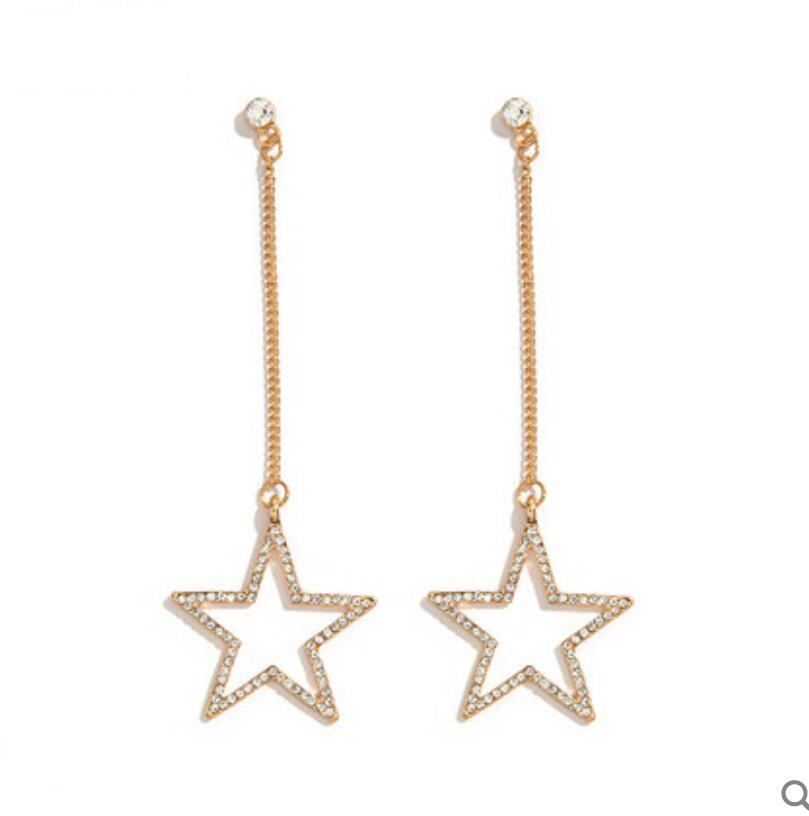 Charm Long Stud Earrings Dangle Chain Star Hollow Out With Crystals 2020 Jewelry Wedding Anniversary Gift For Women Ornaments