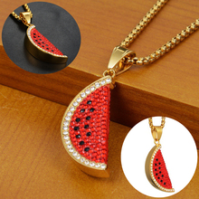 Watermelon Pendant Necklace Stainless Steel For Women Gold Red Color Engagement Jewelry