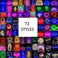 Luz LED de neón de 72 estilos, iluminación de pared alimentada por USB para fiesta, decoración del hogar, luces de noche de sala