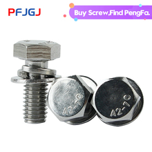 Peng Fa 304 stainless steel tri-combination screw trimming outer hexagonal hexagonal combination screw bolt M4M5M6M8
