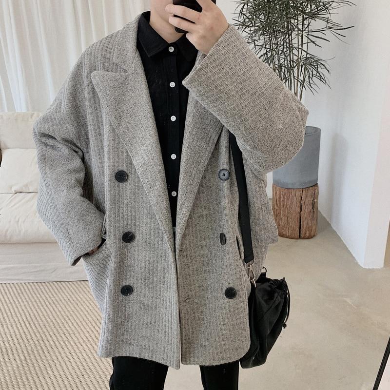 2019 Autumn Men's Fashion Cotton Overcoat Long Jackets Loose Woollen Blends Cashmere   Trench   Coats Grey Color Windbreaker M-XL