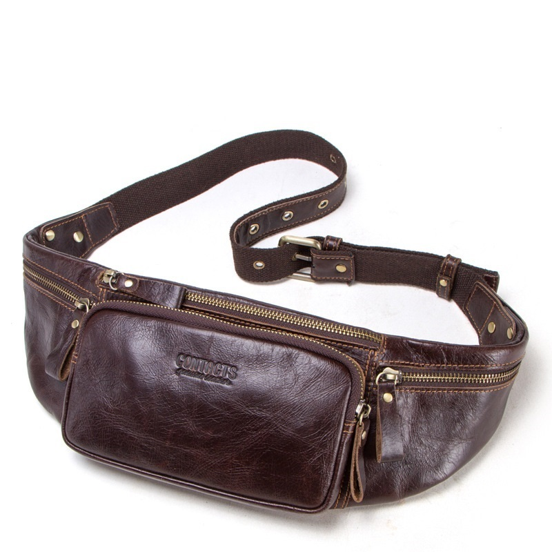 Contact's Genuine Leather Waist Pack Men Casual Small Fanny Pack Travel Chest Bag Waist Bag For Cell Phone And Credit Cards