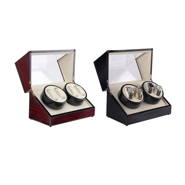 Enchufe de EE. UU., 4 ranuras, caja de reloj de madera, caja de bobinadora de reloj, laca, rotación, Motor, pantalla, reloj, bobinadora, caja de reloj de lujo