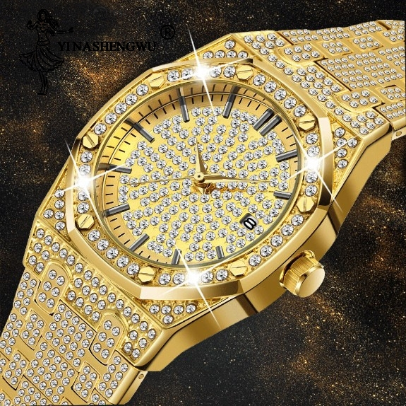18K Gold Watch Mens Luxury Brand Diamond Jewelry Top Quality Iced Out Male Quartz Watches Clock Chronograph Unique For Gifts