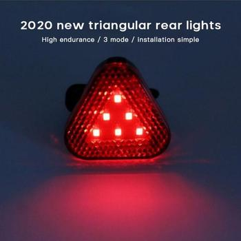 New Red Triangle Taillight Triple Flash Mode Waterproof Headlight Bicycle Mountain Bike Helmet Lamp Safety Warning Light image