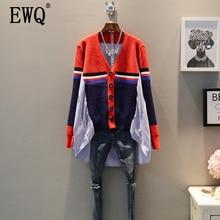 EWQ 2020 ilkbahar sonbahar yeni desen V yaka uzun kollu sahte iki parçalı örgü tek göğüslü Vintage gömlek kadınlar AH12303