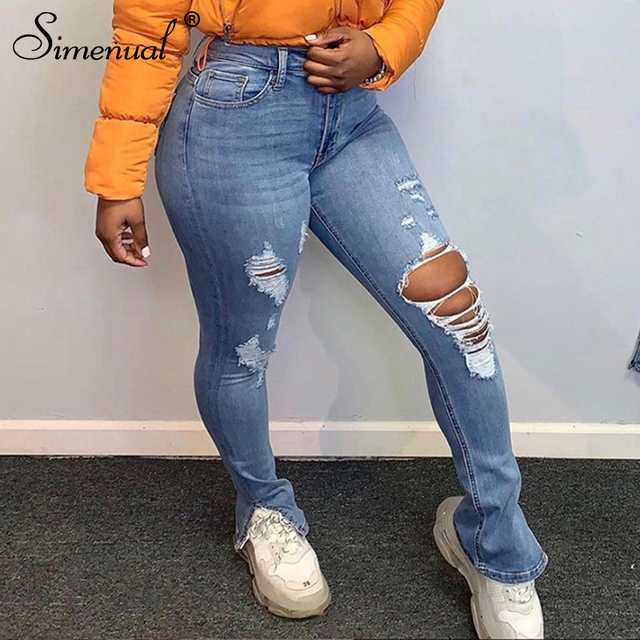Simenual Skinny High Waist Denim Ripped Distressed Jeans Women Fashion Autumn Streetwear Pencil Pants Cut Out Pocket Trousers 1
