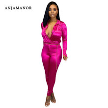 ANJAMANOR Silk Satin Long Sleeve Two Piece Set Top and Pants Women Clubwear Matching Sets Sexy Woman Fall Winter Outfits D43AH50