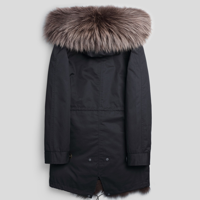 Real Fur Coat Men Parka Natural Fox Fur Liner Long Winter Jacket Warm Men's Fur Coats And Jackets Plus Size P1888240