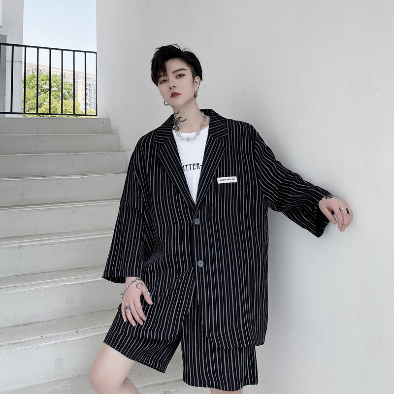 Male Streetwear Hip Hop Vintage Fashion Thin <font><b>Suit</b></font> Blazers Coat <font><b>Men</b></font> Summer 2 Pieces Stripe <font><b>Suits</b></font> Sets <font><b>Suit</b></font>+<font><b>shorts</b></font> image