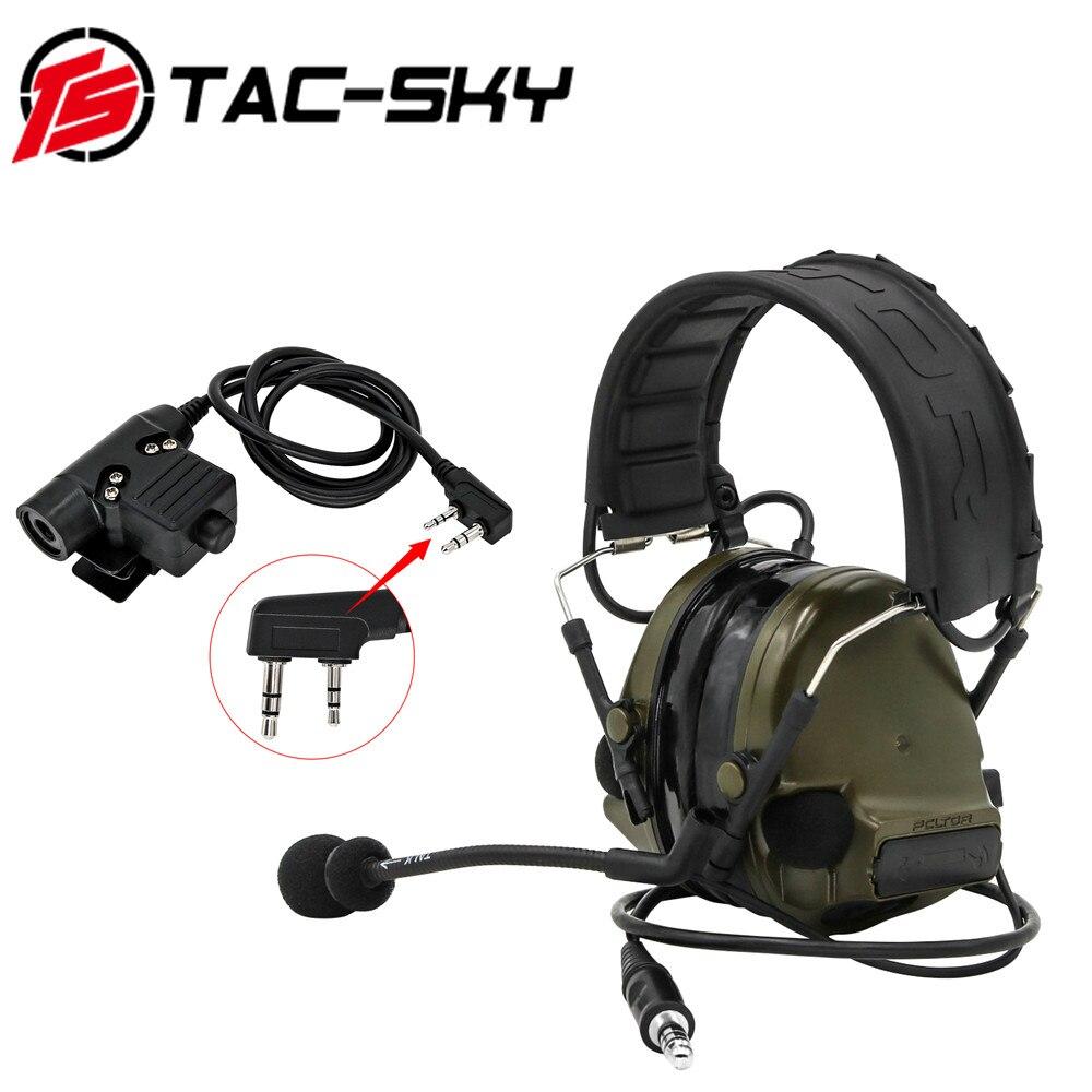 TAC-SKY COMTAC III Tactical PELTOR COMTAC Silicone Earmuff Noise Reduction Hunting Military Intercom Tactical Headset+ PTT U94