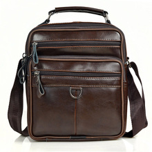 Men Genuine Leather Messenger Bags Male Cow Oil Wax Leather