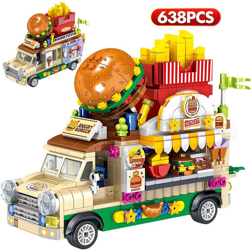 City Mini Street View Brick Hamburg Ice Cream Dessert Car Figurine Model Vehicle Education Building Block Toys For Children Gift