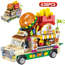 City Mini Street View Brick Hamburg Ice Cream Dessert Car Figurine Model Vehicle Education Building Block Toys For Children Gift