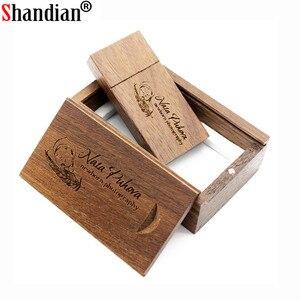 Image 3 - SHANDIAN (Free custom logo) wooden USB flash drive USB+box pendrive 8GB 16GB 32GB custom LOGO for photography wedding gift