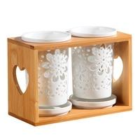 Wood Ceramic Chopsticks Bucket Double Cylinder Storage Chopsticks Rack Tableware Storage Box Kitchen|Racks & Holders| |  -
