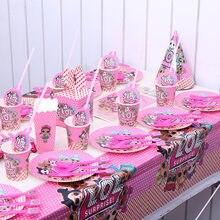 Original lol bonecas surpresa festival festa de aniversário brinquedos figura decoração suprimentos do feriado copo placa de papel toalha suprimentos