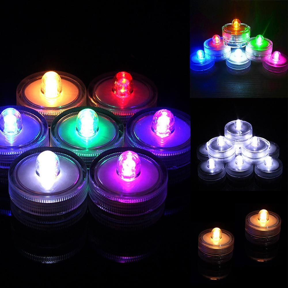 1pcs Waterproof Flameless Realistic LED Tealight Candles Floral Submersible Lamp Light Wedding Party Christmas Decoration