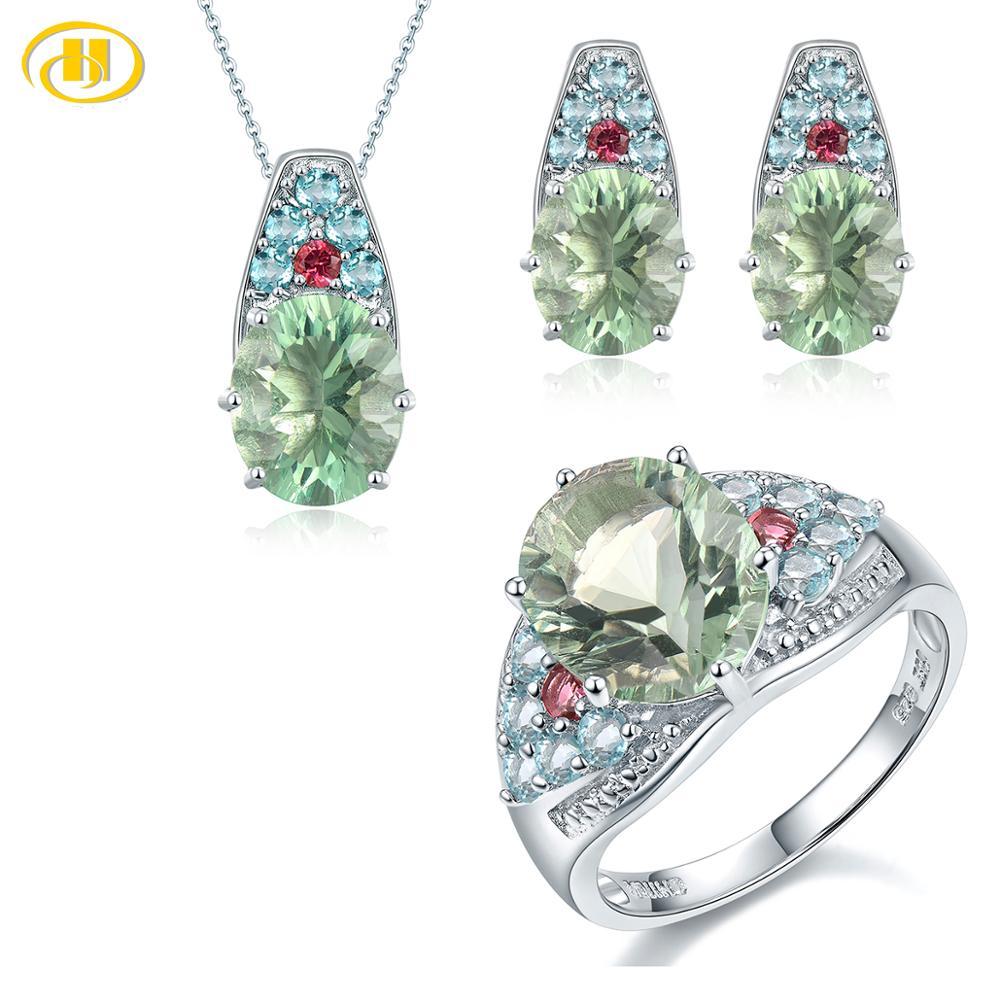 HUTANG Jewelry Sets Natural Gemstone Fluorite Tourmaline Solid 925 Sterling Silver Fine Bridal Jewelry Ring Pendant Earrings New  グループ上の ジュエリー & アクセサリー からの ジュエリーセット の中 1